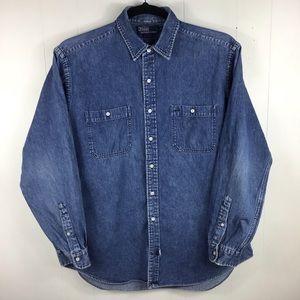 Polo Ralph Lauren Denim 100% Cotton Button Up Size XL